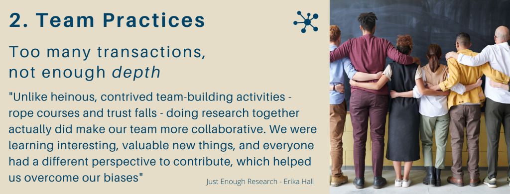contrived team-building activities - rope courses and trust falls - doing research together actually did make our team more collaborative. We were learning interesting, valuable new things, and everyone had a different perspective to contribute, which helped us overcome our biases.